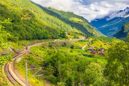 Magnificent summer views in of the railway and a Hiking road connecting the FLAM and MURDAL. Most beautiful train journeys in the world and is one of the leading tourist attractions in Norway.
