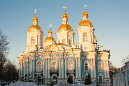 evening view of Nikolsky Cathedral on blue sky background. Russia Saint Petersburg
