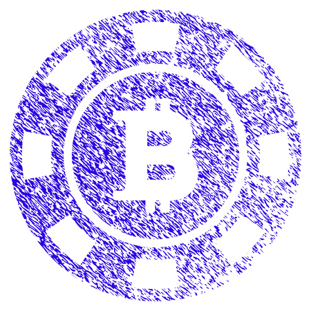 Grunge Bitcoin Casino Chip rubber seal stamp watermark. Icon symbol with grunge design and scratched texture. Unclean raster blue sticker. Stock Photo