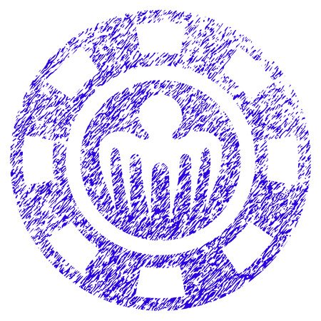 Grunge Spectre Casino Chip rubber seal stamp watermark. Icon symbol with grunge design and dirty texture. Unclean raster blue sticker. Stock Photo