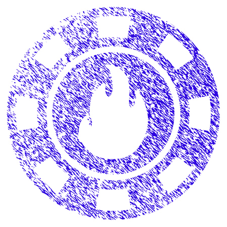 Grunge Flame Casino Chip rubber seal stamp watermark. Icon symbol with grunge design and unclean texture. Unclean raster blue emblem. Stock Photo