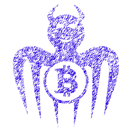 Grunge Bitcoin Happy Spectre Devil rubber seal stamp watermark. Icon symbol with grunge design and dirty texture. Unclean raster blue sticker.