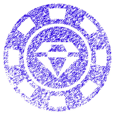 Grunge Gem Casino Chip rubber seal stamp watermark. Icon symbol with grunge design and scratched texture. Unclean raster blue sticker.