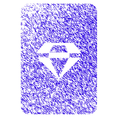 Grunge Ruby Gaming Card rubber seal stamp watermark. Icon symbol with grunge design and scratched texture. Unclean raster blue emblem. Stock Photo