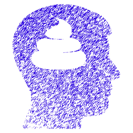 Grunge Shit Brains Head rubber seal stamp watermark. Icon symbol with grunge design and dust texture. Unclean raster blue sticker.