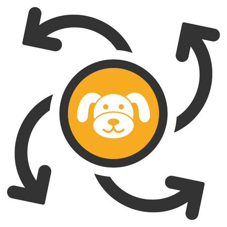 Puppycoin Emission Swirl flat vector illustration. An isolated illustration on a white background.