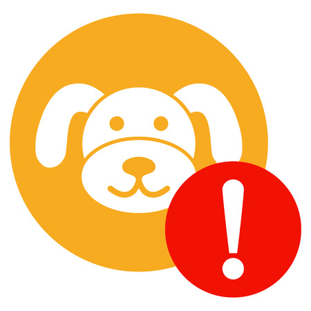 Warning Puppycoin flat vector pictogram. An isolated illustration on a white background.