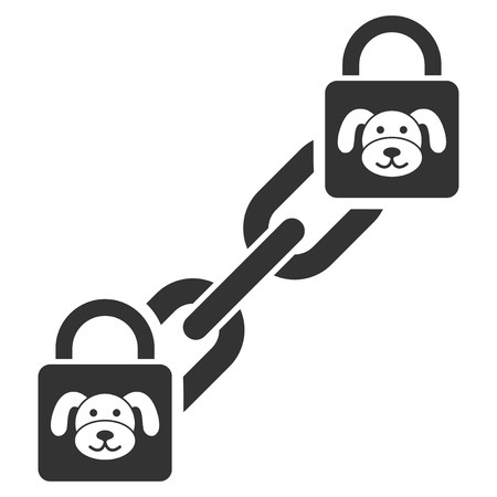 Puppy Blockchain flat vector icon. An isolated illustration on a white background. Stock Illustratie