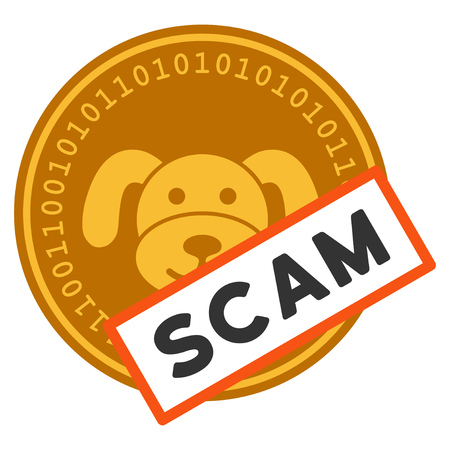 Puppycoin Scam Label flat vector pictograph. An isolated illustration on a white background. Illustration