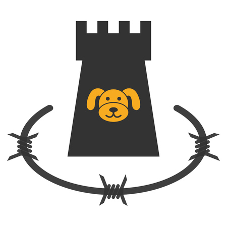 Puppycoin Barbwire Bulwark flat vector icon. An isolated illustration on a white background.