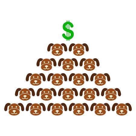 Puppycoin Pyramid Scheme flat vector illustration. An isolated illustration on a white background. Illustration