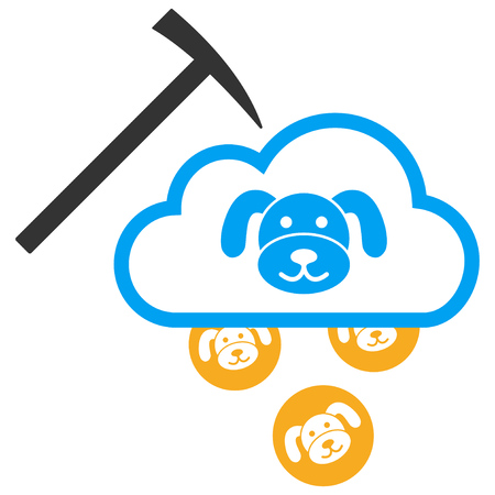 Puppycoin Cloud Mining flat raster icon. An isolated illustration on a white background.