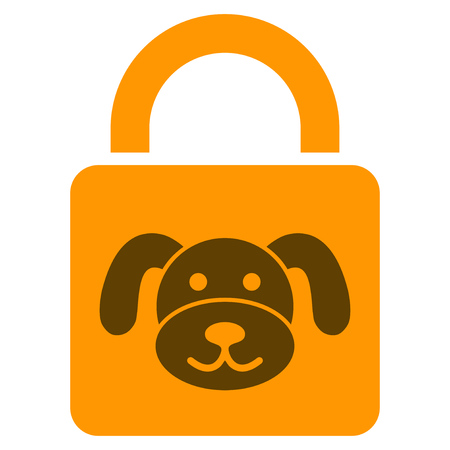 Puppy Lock flat raster icon. An isolated illustration on a white background.