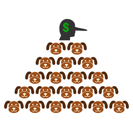 Puppycoin Pyramid Scammer flat raster pictograph. An isolated illustration on a white background. Stock Photo