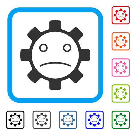 Service Gear Sad Smiley icon. Flat gray pictogram symbol inside a blue rounded rectangular frame. Black, gray, green, blue, red, orange color variants of Service Gear Sad Smiley vector.
