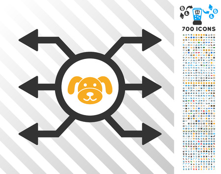 Puppycoin Node Cashout pictograph with 7 hundred bonus bitcoin mining and blockchain design elements. Vector illustration style is flat iconic symbols designed for blockchain websites.