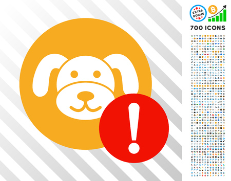 Warning Puppycoin pictograph with 700 bonus bitcoin mining and blockchain symbols. Vector illustration style is flat iconic symbols designed for blockchain websites.