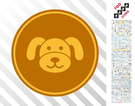 Gold Puppycoin icon with 7 hundred bonus bitcoin mining and blockchain design elements. Vector illustration style is flat iconic symbols designed for bitcoin apps.