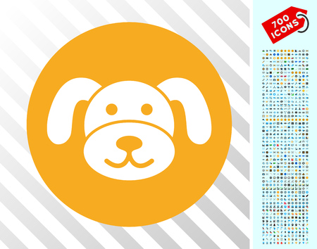 Puppy Coin icon with 7 hundred bonus bitcoin mining and blockchain pictograms. Vector illustration style is flat iconic symbols designed for crypto currency software.