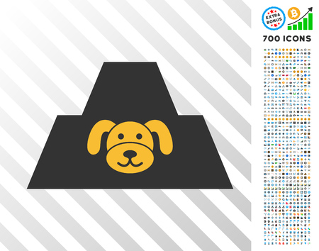 Puppy Citadel icon with 7 hundred bonus bitcoin mining and blockchain pictures. Vector illustration style is flat iconic symbols designed for bitcoin software.