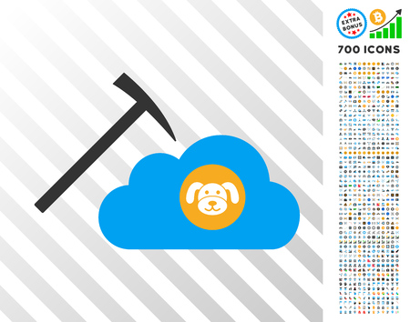 Puppycoin Cloud Mining icon with 700 bonus bitcoin mining and blockchain pictographs. Vector illustration style is flat iconic symbols designed for crypto currency apps.