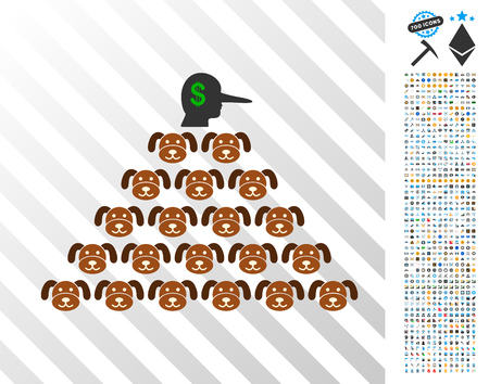 Puppycoin Pyramid Scammer icon with 700 bonus bitcoin mining and blockchain icons. Vector illustration style is flat iconic symbols designed for crypto- currency websites. Illustration