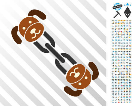 Puppy Chain icon with 7 hundred bonus bitcoin mining and blockchain design elements. Vector illustration style is flat iconic symbols designed for cryptocurrency apps.