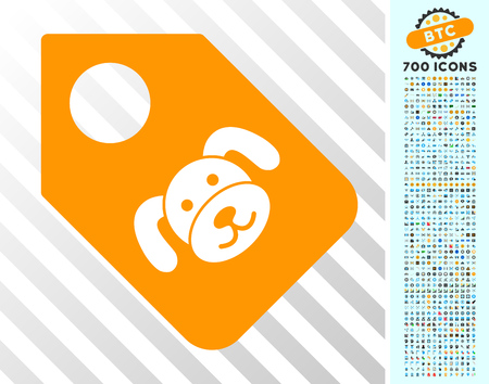 Puppy Tag icon with 7 hundred bonus bitcoin mining and blockchain pictograms. Vector illustration style is flat iconic symbols designed for bitcoin websites. Illustration