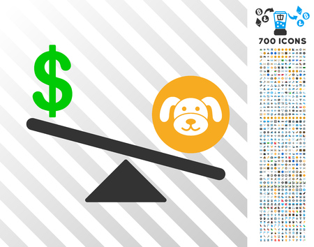 Puppycoin Dollar Balance Swing pictograph with 7 hundred bonus bitcoin mining and blockchain pictures. Vector illustration style is flat iconic symbols designed for crypto currency apps.