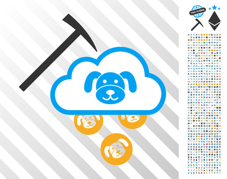 Puppycoin Cloud Mining pictograph with 700 bonus bitcoin mining and blockchain images. Vector illustration style is flat iconic symbols designed for blockchain websites. Illustration