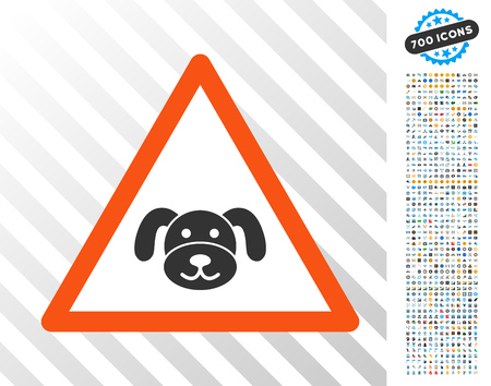 Puppy Warning pictograph with 7 hundred bonus bitcoin mining and blockchain clip art. Vector illustration style is flat iconic symbols designed for cryptocurrency websites.
