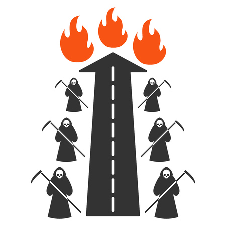 Road To Hell Fire flat vector pictograph. An isolated icon on a white background. Illustration