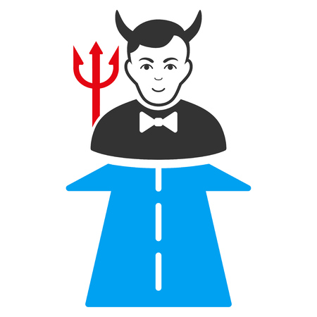 Road To Hell Monster flat vector icon. An isolated icon on a white background.
