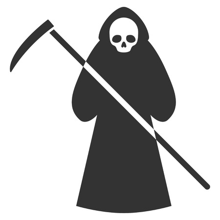 Scytheman flat vector pictogram. An isolated icon on a white background.
