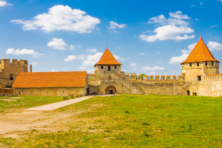 Old fortress on the river Dniester in town Bender, Transnistria. City within the borders of Moldova under of the control unrecognized Transdniestria Republic in summer sunny day.