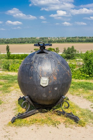 Bender, Transnistria - Fortress Tighina in Transnistria, a self governing territory not recognised by United Nations. Baron Munchausen, cannonball, monument