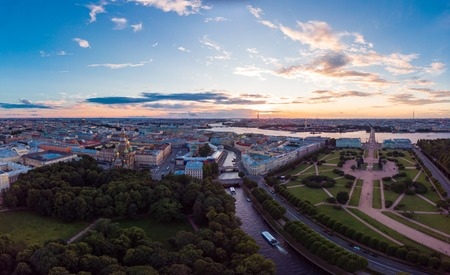 SAINT-PETERSBURG Russia: beautiful Top view of historic city centre St. Petersburg an the field of Mars, summer garden and the Neva river from the air, on a Sunny summer day