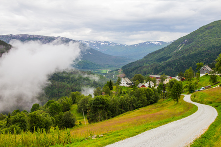 the beautiful view on Naeroydalen valley and peaks on Stalheim, Voss in Hordaland, Norway.