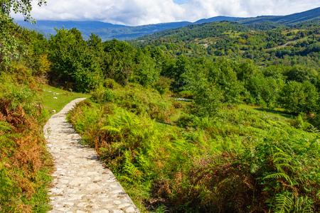 Beautiful view of the hiking trail leading to the national Park and famous sights of Georgia Okatse (Okace) Canyon located near Kutaisi. Zeda-gordi caucasus region, Georgia 写真素材