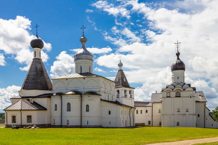 Panaramic view to ancient Ferapontov Belozersky male monastery of XV century. Complex of temples Located on the shore of the Borodaevsky Lake. Russian Orthodox Church. Kirillov. Vologda Region. Russia