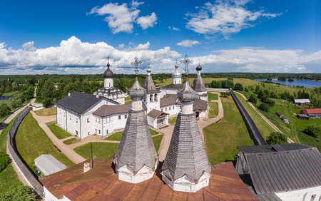 Aerial Panaramic view to Ferapontov Belozersky male monastery of XV century. Complex of temples Located on the shore of the Borodaevsky Lake. Russian Orthodox Church. Kirillov. Vologda Region. Russia