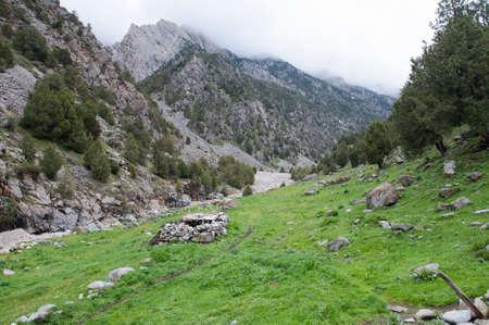 kyrgyzstan: El corral de las ovejas en Kirguistán