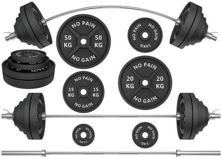 Set of 3D Studio shots of a metal barbells and weights isolated on white background