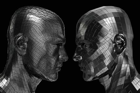 Two Robots in profile looking at each other isolated on a black background Stock Photo