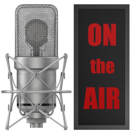 cardioid: Estudio Micrófono con el signo de aire, para la radiodifusión, suena temas relacionados