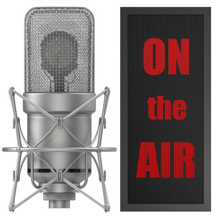 on air sign: Studio Microphone with on air sign, for broadcasting, sound related themes