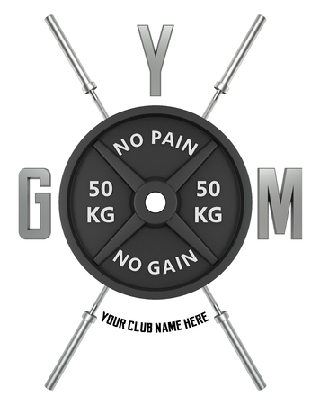 workout gym: Gym logo in 3d style. CG image. Weights with barbell rod.