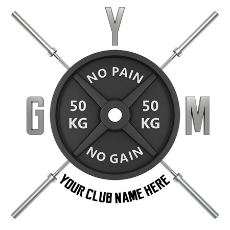 Gym logo in 3d style. CG image. Weights with barbell rod.