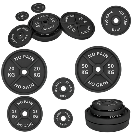 WEIGHT: 3d illustration with set f weights  barbells. For GYM, fitness center