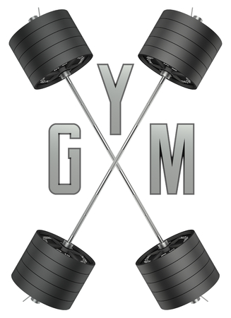 3d cg: Gym logo in 3d style. CG image. Weights with barbell. For GYM and fitness, shop etc. Stock Photo